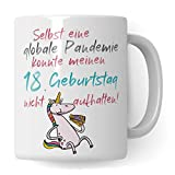 18. Geburtstag Tasse, Geschenk zum 18. für Mädchen, witziger Becher 2021 Jahrgang 2003 Geburtstag Geschenkidee, Geburtstagsgeschenk: Trotz Pandemie 18. Geburtstag