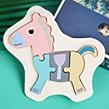 Holzpuzzle 3D Kinder, Tier Steckpuzzle Holz Spielzeug für Kinder 1 2 3 Jahre, Baby Lernspielzeug Fuchs Rakete Pony Krabbe Geschenk für Weihnachten, Geburtstag, Kinderstag (Pony)