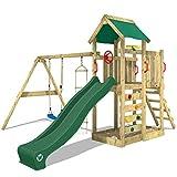 WICKEY Spielturm Klettergerüst MultiFlyer mit Schaukel & grüner Rutsche, Kletterturm mit Sandkasten, Leiter & Spiel-Zubehör*