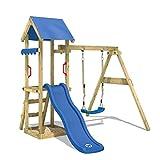 WICKEY Spielturm Klettergerüst TinyWave mit Schaukel & blauer Rutsche, Kletterturm mit Sandkasten, Leiter & Spiel-Zubehör*