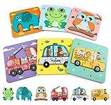 COCHIE Holzspielzeug 6 Stücke Holzpuzzle Kinder, Steckpuzzle Holz Montessori Spielzeug Geschenke für Kinder ab 1 2 3 4 Jahre, Geburtstag Geschenke für Mädchen Jungen