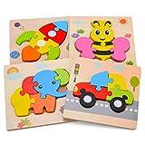 Aoliandatong Holzpuzzle, Steckpuzzle Holz Montessori Spielzeug fr Kinder ab 1 2 3 Jahr, 3D Baby Puzzle, Lernspielzeug Pdagogisches Geschenk fr Kinder, Geburtstagsgeschenk, 4 Stcke