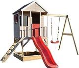 Wendi Toys M9 Spielhaus Garten | Kinder Gartenhaus Holz | Spielturm mit Rutsche und Schaukel | Klettergerüst Kinder Garten für Jungen und Mädchen | Kinderspielzeug ab 3 Jahre | Spielzeug für Draußen